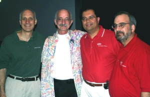 DuPont employees and FSR volunteers with FIRST National Advisor, Woodie Flowers (2nd left) of MIT