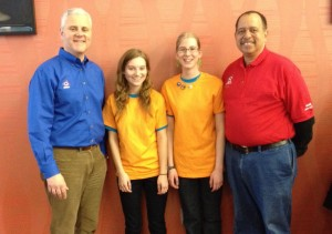 Amy and Emma with FIRST president, Don Bossi (left) and DE FTC director, Eric Cheek (right)